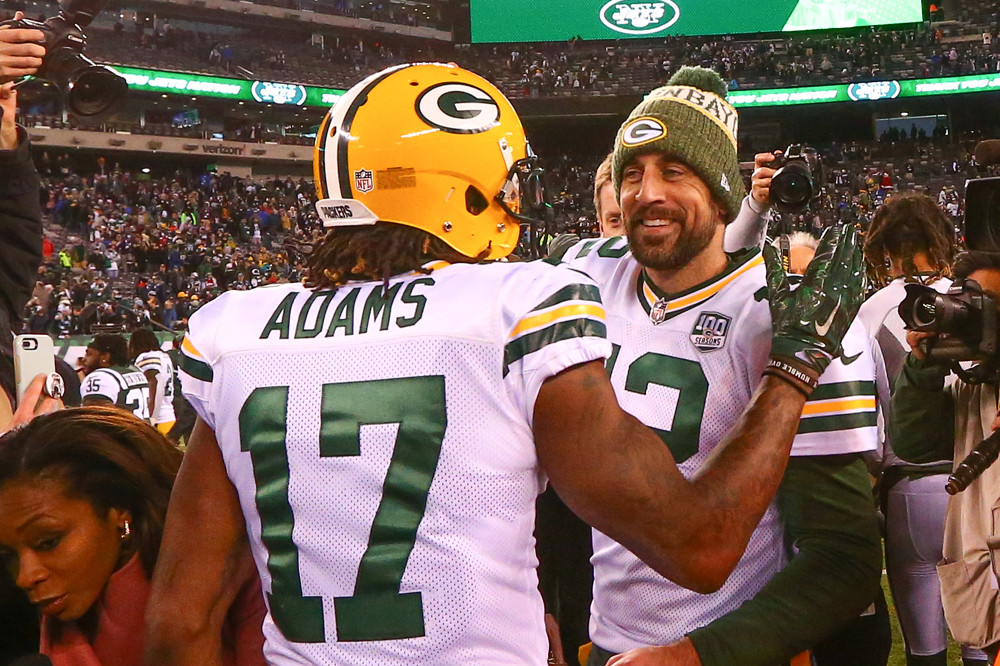 Green Bay Packers quarterback Aaron Rodgers and Green Bay Packers wide receiver Davante Adams